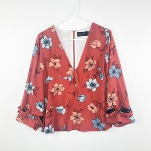Minkpink | Burnt Orange Floral Long Sleeve Top